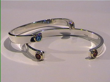 Silver Cuffs Swiss Blue Topz And Garnets In Gold